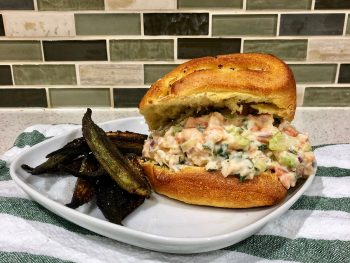 Shrimp Roll Sandwich and Okra on Plate